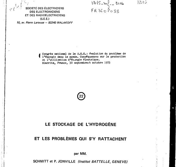 Le stockage de l'hydrogène et les problèmes qui s'y rattachent, Schmitt et Joinville 1975